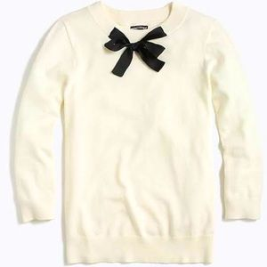 J Crew mercantile creme sweater with black bow S